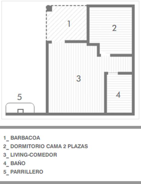 Plano de bungalow un dormitorio en Pueblo Suizo